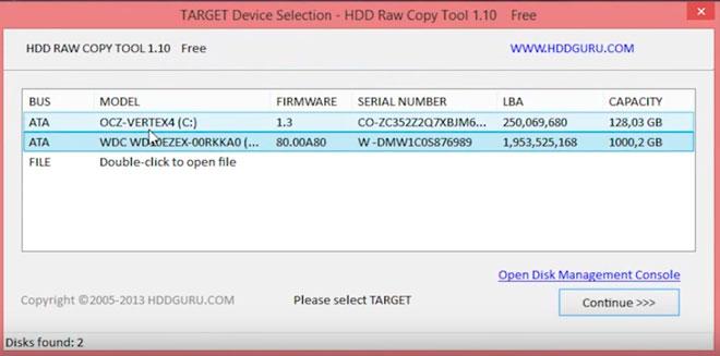 выбор проблемного диска в программе HDD RAW Copy Tool